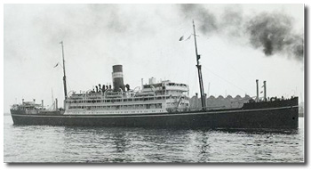 Aubrey Brown's first ship, Mulbera (BI 1922-1954), was one of the company's fine M class turbine steamers