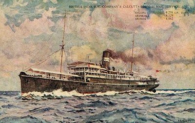 Angora-class ship pictured on an old postcard. Angora, built for the company's premier Calcutta-Burma mail service was the fastest of the A class and was in service from 1911 to 1937 (although was laid up for the last five years)