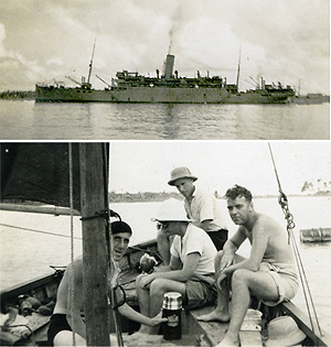 Egra (BI 1911-1950) with (below) members of the ship's company, unidentified apart from Josiah Dewis, far right, in the Maldives, July 1942