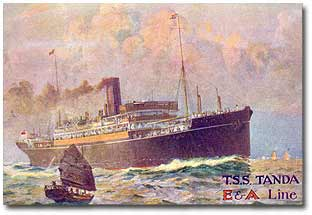 Tanda (BI 1914-1924) pictured after the ship was sold in Oct 1924 to associate Eastern & Australian Steam Ship for Australia-China/Japan services