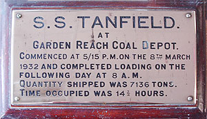Tanfield coal loading plaque from Garden Reach Coal Depot, Calcutta 1932